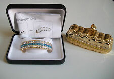 Luxury Gold finish with blue/clear crystals bling top grillz with free holder
