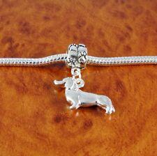 Silver Dachshund dog charm and paw bead for European charm bracelet or necklace