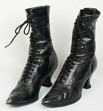 Vintage Antique Leather Black Lace-up Boots/Shoes Victorian Edwardian