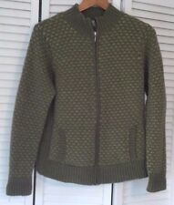 Womens LL BEAN  Zipper Cardigan Sweater Green Birds Eye Pattern M or L, EUC