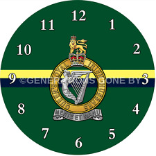 THE QUEENS ROYAL IRISH HUSSARS GLASS WALL CLOCK