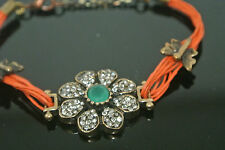 Turkish 0.75 Ct Emerald CZ Ottoman Georgian Bronze Charm Leather Cord Bracelet