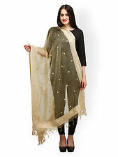 Women's tradional ethnic clothing apparel  mirror work Dupatta / Stole - BEIGE