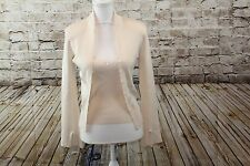 Cache Ivory Beaded Twin Set Career Silk Blend Sweater size S