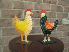 FIGURINE ROOSTER & CHICKEN STATUE METAL HOME FARM DECOR  Country Multi Color