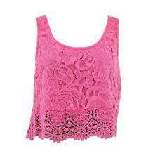 SELF ESTEEM ~ NEW PINK LACE ~ LINED HI-LOW HEM ~ CROP TOP BLOUSE SZ L ~ NWT