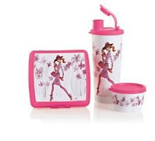 Tupperware GIRL ON THE GO LUNCH SET 3 Piece Sandwich Keeper, Tumbler & Snack Cup