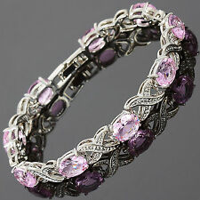 Xmas Charming! Pink Sapphire 18K White Gold Plated Gp Tennis Bracelet Jewelry