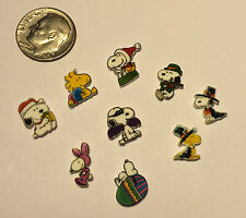 9 SNOOPY WOODSTOCK HOLIDAY FLOATING LOCKET CHARMS MIX LOT OF SPRING FALL WINTER