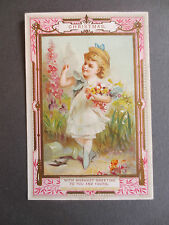 ANTIQUE Christmas Greetings Card Marcus Ward Pretty Little Girl Picking Flowers