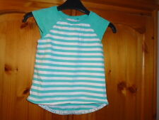 Green and white striped dipped hem top, embroidered sleeves, GEORGE 18-24 months