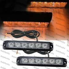 2x 6 LED 6W Emergency Security Grill Marker Flash Strobe Light Yellow Amber