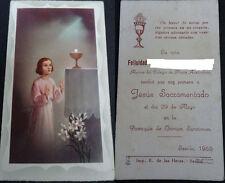 ESTAMPA HOLY CARD PRIMERA COMUNION PARROQUIA OMNIUM SANCTORUM 1955 SEVILLA C1349