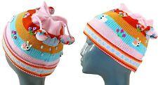 Kinder MÜTZE rosa bunt,Gr.47-50, 1-3 Jahre, 4 Bommeln, passt zu Peru Strickjacke