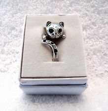 Cat Wrap Animal Ring Silver Platinum Adjustable Black Swarovski Crystals