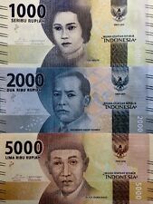 INDONESIA 1000 2000 5000 Rupiah 2016 NEW DESIGN GREAT COLOURFUL UNC BANKNOTES