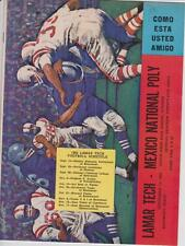 Sept. 15, 1962 Lamar Tech vs. Mexico National Poly Football Program