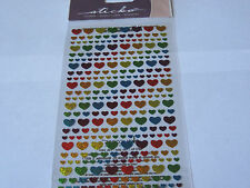 Scrapbooking Stickers Sticko Metallic Rainbow Hearts Small Repeats Colorful