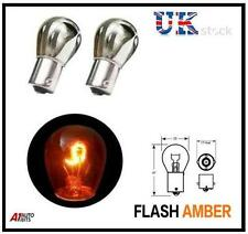 CHROME SILVER AMBER REAR INDICATOR BULBS BA15S PY21W TURN SIGNAL S25 12V