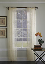 "Gossamer Embroidered Sheer Curtain Panel, Ivory, 84"" Length, by Suntex"