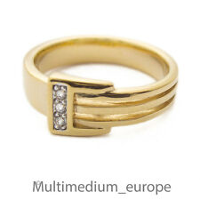 Pierre Lang Ring Strass massiv vergoldet signiert gilt paste