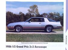 1986 1/2 Pontiac Grand Prix 2+2 Aerocoupe 305 ci LG4 info/specs/photo sheet 11x8