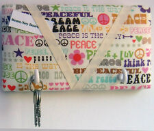 Peace and Love fabric covered, box framed, Key Hanger / Memo Board