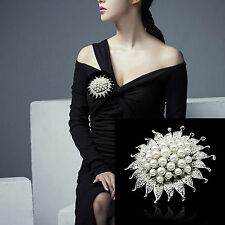 Wedding Bridal Silver Rhinestone Crystal Pearl Sun Flower Brooch Bouquet Pin
