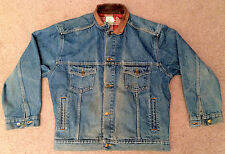 VTG Mens Marlboro Country Store Denim Jean Jacket with Leather Collar Size Large