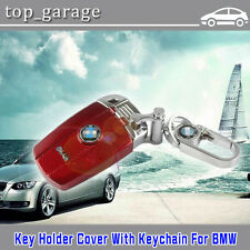 Red Remote FOB  Key Holder Cover Case With Chain For BMW X1 X5 X6 Series M3 M5