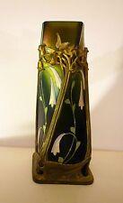 Antique art nouveau vase, Bohemian. Metal/bronze surround, Tiffany style glass