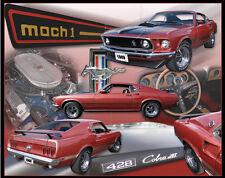 FORD MUSTANG Mach 1 Tin Sign Metal GARAGE 1969 428 Cobra Jet USA Brand New