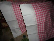 VINTAGE UTICA SHABBY EMBROIDERED PINK GINGHAM (PAIR) STANDARD PILLOWCASES 20X28