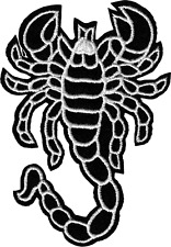9998 Black & White Scorpion Cutout Desert Biker Embroidered Sew Iron On Patch