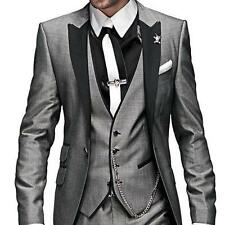New Grey Business Men Suits Groomsmen Tuxedos Groom Suit (Jacket+Vest+Tie+Pants)