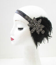 Charbon Noir Argent Plume Coiffe Charleston 1920s Great Gatsby Bandeau 30