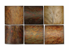 """Abstract Set 6 Wood Tiles Wall Decor Plaques 10"""" Square Muted Tones Art Modern"""