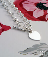 Hallmarked Sterling Silver Heart Tag Belcher T-Bar Chain Necklace 16''