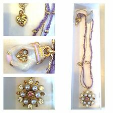 Betsey Johnson Snow Ski Bunny SNOWFLAKE Crystal GOLD Star BURST NWOT Necklace