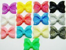 13 Mixed Big Large Jumbo AB Faux Rhinestone Flatback Resin Bows Kawaii Cabochons