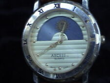 """axcess sun moon phase wrist watch with brown ostrich band 8-1/2"""" part or repair"""