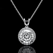 1.50Ct Round Halo Diamond Pendant 14k White Gold Cable Chain Link Necklace 18""
