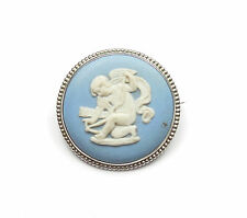 Vintage London 1973 925 Sterling Silver JASPERWARE WEDGWOOD CAMEO BROOCH 8.1g