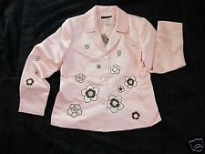 BLAINE TRUMP NEW SATIN SPRING JACKET-see great large pics-SEQUINS EMBROIDERY M +