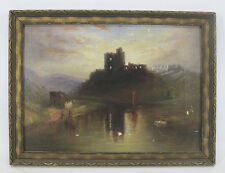 Antique 1884 MW Burlew Continental Castle Ruins River Oil on Canvas Painting yqz