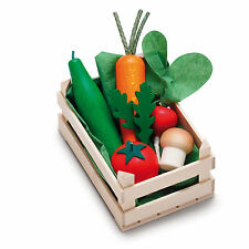 Wooden pretend role play food Erzi play kitchen shop: Crate of Vegetables asstd