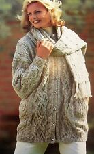 "#170 Ladies DK Cable Jacket & Scarf Set Vintage Knitting Pattern 30-40"" 76-102cm"