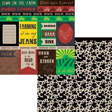 Moxxie - Farm Scrapbooking Paper CUTOUTS - FLI-1601 Rooster Tractor Fields