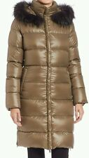 Duvetica NWT 44 8 10 women's down puffer jacket coat real fur tan beige baobab