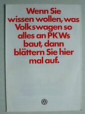 Prospekt Volkswagen VW Programm mit Golf I GTI/Cabrio, Scirocco, 8.1979, 8 S.